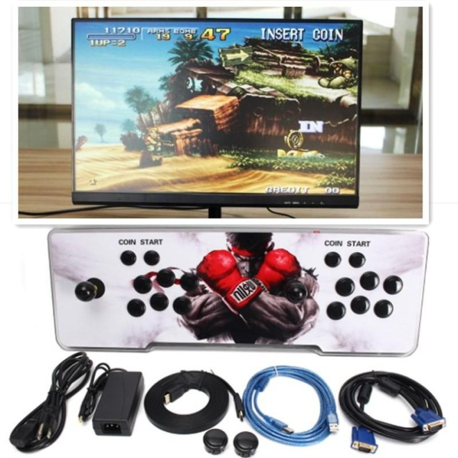 680 Video Permainan Klasik Ganda Tongkat Arcade Joystick Konsol LED untuk Kotak-Internasional