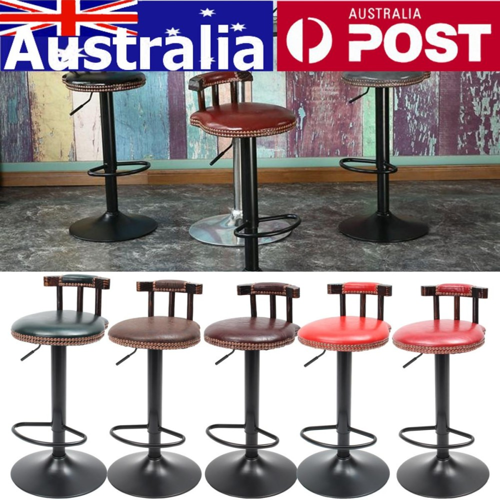 Adjustable Retro Logam Kerajinan Bar Stool Furniture Swivel Cafe Counter Kursi 250LB Brown Red-Intl