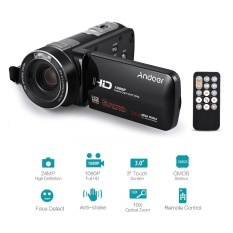 Andoer HDV-Z80 1080P Full HD 24MP Digital Video Camera Camcorder 10X Optical Zoom Anti-Shake Face Detect with 3inch Touchscreen LED Light Remote Control - intl