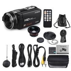 Andoer HDV-Z80 1080 P Penuh HD 24MP Digital Video Kamera Kamera Perekam dengan 0.39X Lebar Sudut + Macro Lensa Jarak Jauh Pengendali 3