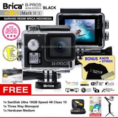 BRICA B-PRO 5 Alpha Edition Mark IIs (AE2s) WIFI 4K BLACK + 3 Way Monopod + SanDisk 16GB Class 10 + Hardcase Medium + Kaos Brica + Sticker BPRO5