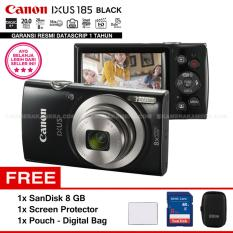 Canon IXUS 185 BLACK - Pocket Camera 20 MP 28mm Wide 8x Optical Zoom (Resmi Datascrip) + SanDisk 8 GB + Screen Protector + Pouch