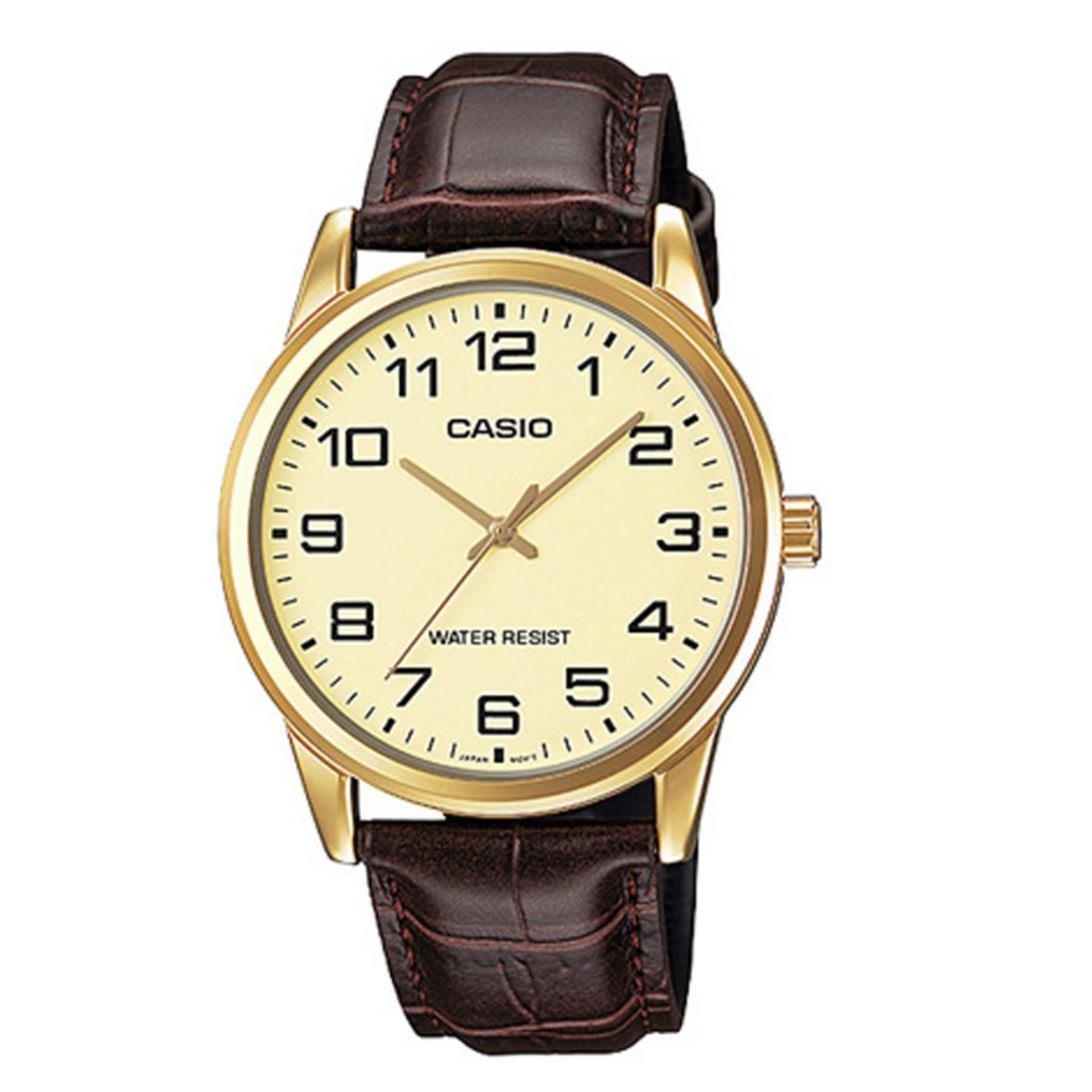 Casio Analog MTP-V001GL-9B - Jam Tangan Pria - Coklat - Leather Band