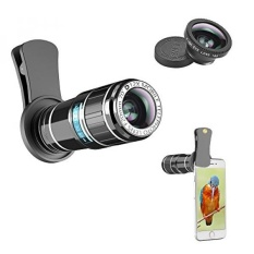 Cell Phone Telephoto Lens, ARORY 2 In 1 IPhone Lens Kit-12X Telephoto Lens + Fisheye Lens, Universal Lensa Ponsel Klip untuk IPhone 8, 8 Plus, 7, 7 Plus, 6, 6 S, Samsung dan Paling Smartphone-Intl