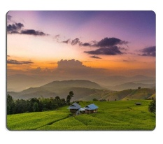 ELong Station SOLD Natural Karet Mouse Pad Twilight Di Sawah Berundak Di Panoramic View Chiang Mai Thailand M0A07594-Intl