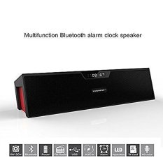 JOOX Sardine SDY-019 Portable Wireless Bluetooth Stereo Speakerwith 2 X 5W Speaker Enhanced Bass Resonator. FM Radio. Built-inMic. LED Display. Alarm clock. 3.5 mm Audio Jack. support TFcard/Micro SD card and USB input(Black and Red) - intl
