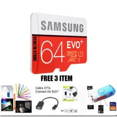 Memory Samsung  64 GB Micro SD Class 10 Evo Plus SDXC Card With SD Adapter  FREE 3 PCS LED USB Penerang Laptop+OTG USB+CARD RAIDER