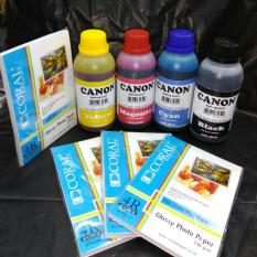 PAKET TINTA CANON 250ML 4 WARNA PHOTO QUALITY BONUS PHOTO PAPER