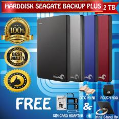 Seagate Backup Plus Slim 2TB - HDD - HD - Hardisk External 2.5  + Gratis Pouch Harddisk + Otg Mini Reader + Simcard Adapter 3in1 + Iring Stand Hp