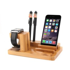 SOBUY Charging Docking Station Watch Stand, Kayu Bambu Charge Dock, Desk Stand Dudukan Pemegang Dudukan untuk Apple Watch, IPhone, IPad dan Smartphone dan Tablet-Intl