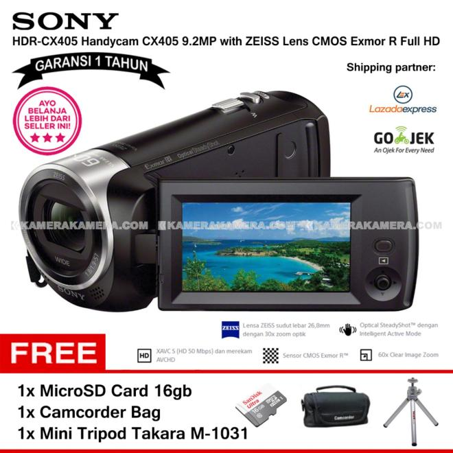 SONY HDR-CX405 Handycam CX405 9.2MP with ZEISS Lens CMOS Exmor R Full HD (Garansi 1th) + MicroSD Card 16gb + Camcorder Bag + Mini Tripod Takara M-1031