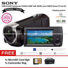 SONY HDR-CX405 Handycam CX405 9.2MP with ZEISS Lens CMOS Exmor R Full HD (Garansi 1th) + MicroSD Card 8gb + Camcorder Bag