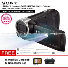 SONY HDR-PJ410 Handycam PJ410 9.2MP With Built In Projector Zeiss Lens Wifi cmos Exmor R Full HD (Resmi Sony) + MicroSD Card 8gb + Camcorder Bag