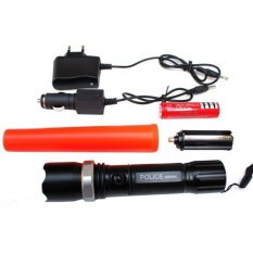 SWAT Flashlight / Senter Police Led  + Batre Cas + Corong Lampu Lintas + Charger Kit + Sarung