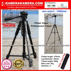 TAKARA ECO-196A Photo / Video Professional Tripod ECO 196A - Max Height 1450mm Free Tripod Bag for DSLR Mirrorless Camera Canon Nikon Sony Fujifilm Panasonic and Action Camera GoPro Brica Xiaomi Yi Kogan and SmartPhone iPhone Samsung