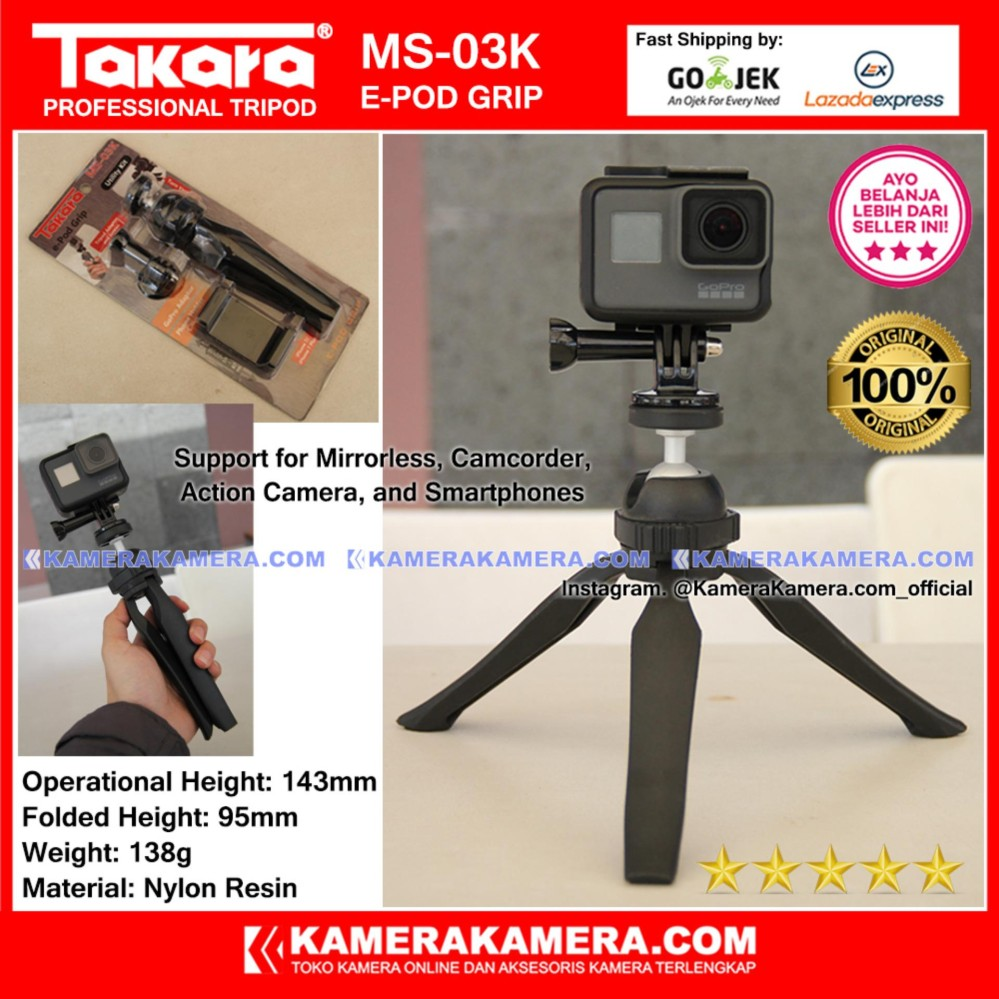 Referensi Harga Tripod Takara Ha 24b November 2018 Paling Joss Eco 233a Lightweight Ms 03k E Pod Grip Original With Mount Adaptor Phone Holder For