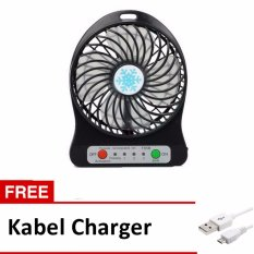 Twelven Kipas Angin Power Bank / Portable Mini Fan 3 Speed + Kabel Charger - Hitam