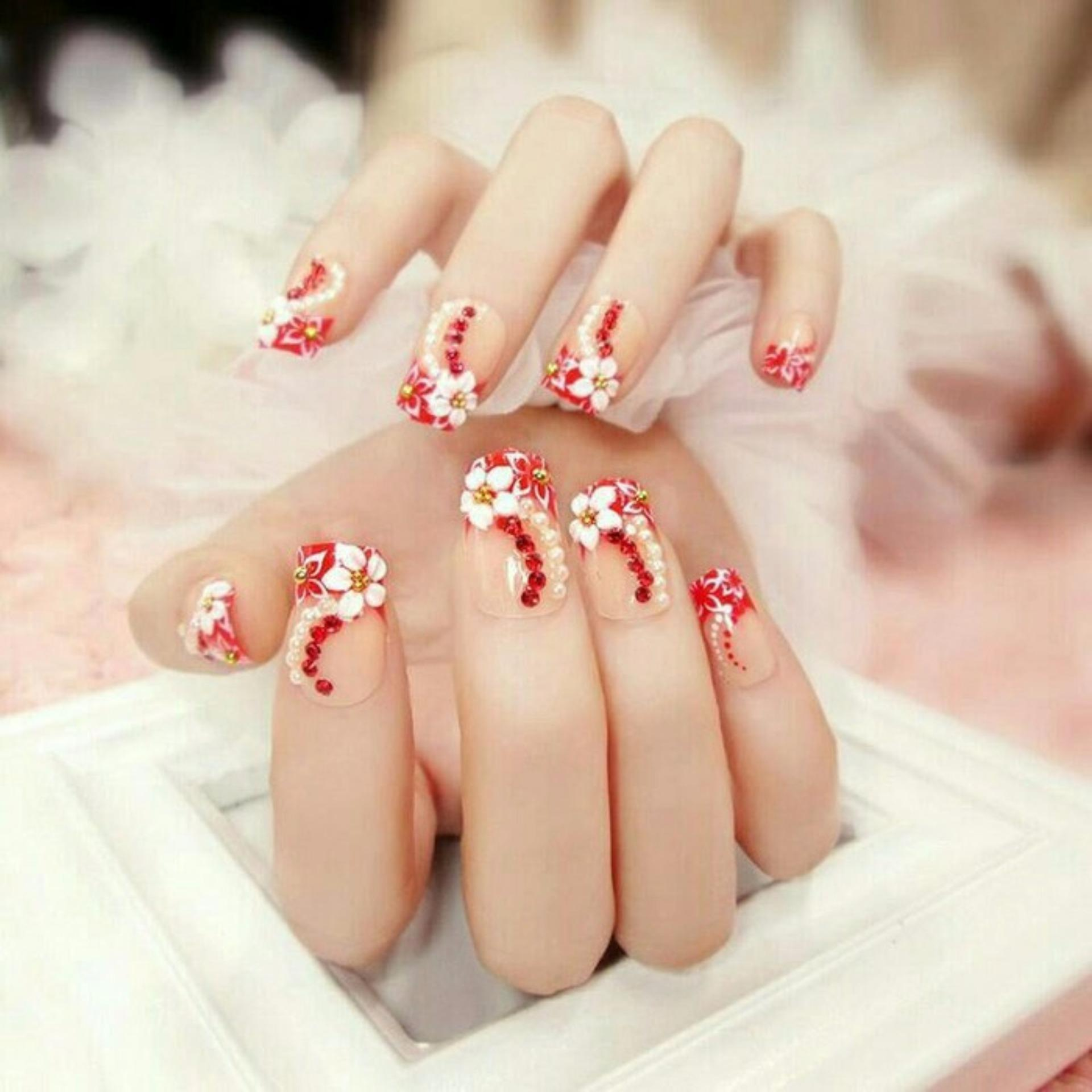Wedding Party Fake Nail White Half Pearl Kuku Palsu Pernikahan 3d Jbs Nails A49 Nikah False Nailart Red Flower