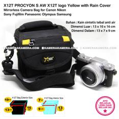 X12T PROCYON S AW X12T logo Yellow with Rain Cover Mirrorless Camera Bag for Canon Nikon Sony Fujifilm Panasonic Olympus Samsung