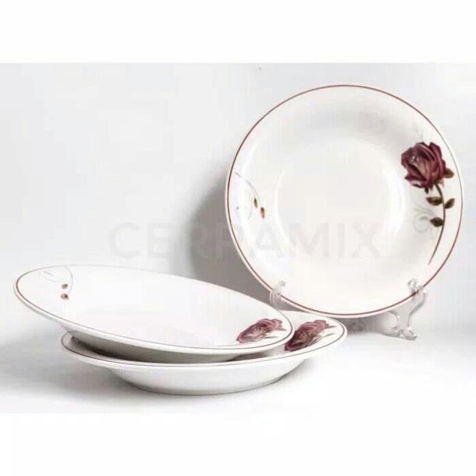 Piring cantik Keramik 7 inci Miojie motif Rose set 6 pcs
