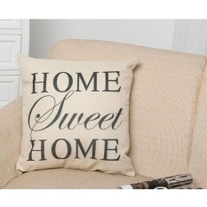 Elife 45*45 Cm HOME SWEET HOME Printed Cotton Linen Sofa Pinggang Bantal Bantal Bantal Cover-Intl