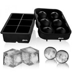 glacio Ice Cube Trays Silicone Combo Mold - Set of 2, Sphere Ice Ball Maker with Lid & Large Square Molds, Reusable and BPA Free - intl