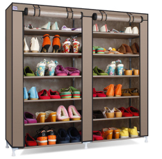 Grosir Station Shoe Rack 12 Layers with Dust Cover / Rak Sepatu - Coklat