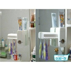 Kado Unik-- Dispenser Odol Toothpaste Dispenser & Brush Set WHITE Pasta Gigi