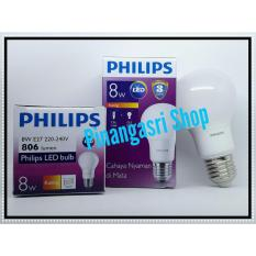 Lampu LED Philips 8 Watt 8W  Philip KUNING 8 W Bulb LED 8Watt Warm White Sama Dengan 9 9.5 W