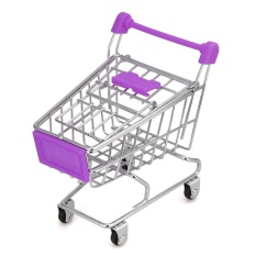 MINI Shopping Cart Kids Toy Creative Desktop Rak Puff Rak Penyimpanan Ungu-Intl