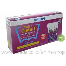 PHILIPS Lampu LED Bulb 4W = 40W Paket Beli 3 Gratis 1 - Cool Daylight (Putih)