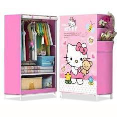 R01 Lemari Hello Kitty Pakaian Multifunction Wardrobe Single Rak Pakaian