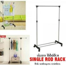 Rak Gantungan baju single / Jemuran Baju pakaian single / rak serbaguna - Single rod rack + roda