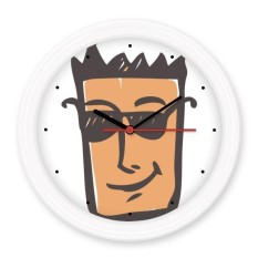 Sunglass Abstract Face Sketch Emoticons Online Chat Silent Non-ticking Round Wall Decorative Clock Battery-operated Clocks Gift Home Decal - intl