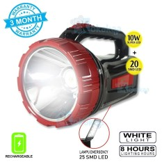 Surya Lampu Emergency + Senter Led 2 in 1 BigSize SHT L1020x Super LED 10w + Light LED 20 SMD Rechargeable 8 Hours