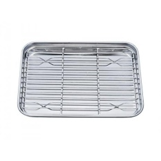 TeamFar Toaster Oven Pan Tray with Cooling Rack, Stainless Steel Toaster Ovenware broiler Pan, Compact 8x10x1, Healthy & Non Toxic, Rust Free & Easy Clean - Dishwasher Safe - intl