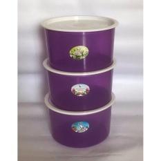 BAYIE - TOPLES Plastik Bulat isi 3 pcs ukuran 1 liter / toples makanan/toples kue/camilan/snack/tempat serbaguna/tempat kue dan makanan/kotak kue dan makanan