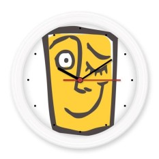 Wink Abstract Face Sketch Emoticons Online Chat Silent Non-ticking Round Wall Decorative Clock Battery-operated Clocks Gift Home Decal - intl