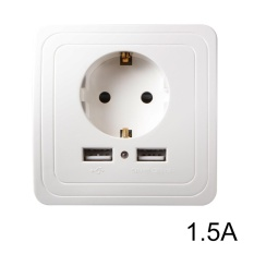 XCSOURCE EU Plug Socket 5 V 1.5A Dual Port USB Charger Dinding Listrik Adaptor Pengisian Dock Power Outlet Panel HS916 -Intl
