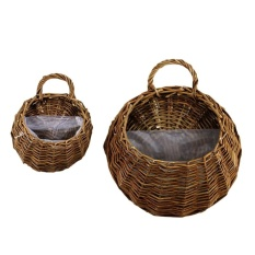 2 Pcs Jerami dan Willow Keranjang Wicker Pot Bunga Flower Wall Hanging Pot Bunga Gantung Keranjang Rotan Pedesaan Hanging Wall Keranjang (kulit Pucat) -Intl