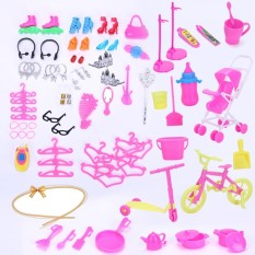 98PCS/Set Barbie Dolls Accessories Set Shoes Bag Mirror Hanger Comb Necklace for Barbie Toys Kids Gift Style:No dolls Height:Suitable for 11 inch dolls Lucky-G - intl