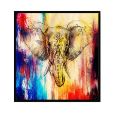 Abstract Art Style Elephant Printed Canvas Decoration Wall Art for Home Living Room Bedroom Office Hotel Pub 30 x 30cm - intl