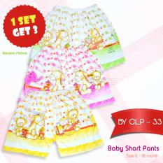 Baby Leon Celana Pendek Bayi 1 SET 3pcs Lucu/ALLSIZE/Umur 6-18 Bulan/UNISEX/Child Short Pants Cotton CLB-33 -  MIX COLOUR