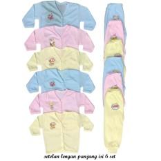 BAYIe - 6 SET Setelan Baju Bayi Lengan Panjang + Celana Panjang Warna LILY umur 0-6 bulan/baju santai/anak laki-laki/anak perempuan