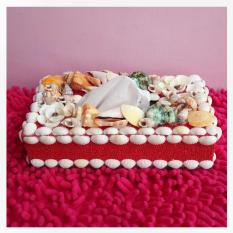 craft tissue box of sand beach and shells (pasir pantai dan kerang) - Red