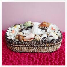Craft Tissue Box of Shells (kerang) - Brown
