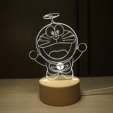 IKEA 3D Nordic wood creative Doraemon duo A dream night lightfawnlamp birthday gift for Valentines Day gift - intl