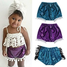 Lovely Kids Baby Bloomers Gadis Mermaid Shorts Celana Pom Pom Shorts Swimming Beachwear-Intl