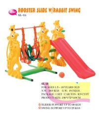 Mainan Edukatif Anak Perosotan Rooster Slide With Rabbit Swing Ching Ching SL 15