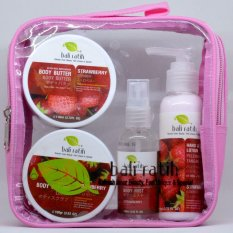 Bali Ratih - Paket Body Scrub, Body Butter, Body Lotion, Body Mist + FREE Plastic Pouch -  Strawberry